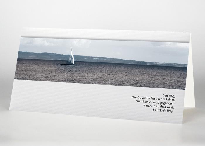 Segelboot im Meer - Trauerkarte Motiv F-23
