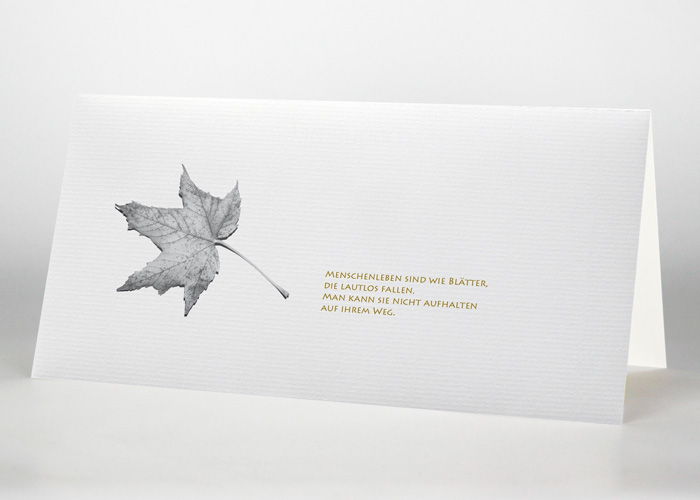 Herbstblatt - Trauerkarte Motiv F-31