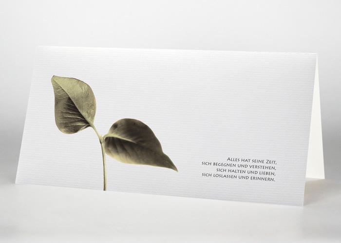 Kleiner Ast mit zwei Blättern - Trauerkarte Motiv F-32