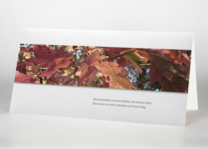 Bunte Herbstblätter - Trauerkarte Motiv F-36