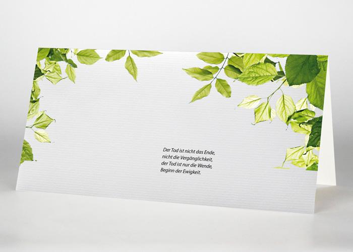 Zweige mit grünen Blättern - Trauerkarte Motiv F-42
