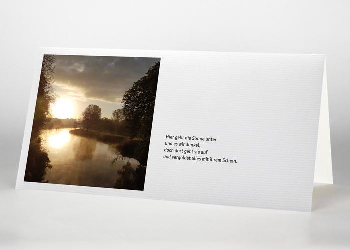 Flussbiegung im Sonnenuntergang - Trauerkarte Motiv F-49