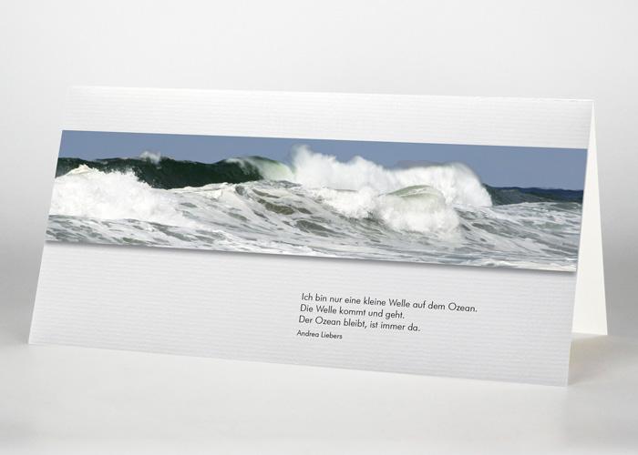 Brechende Welle auf dem Meer - Trauerkarte Motiv F-50