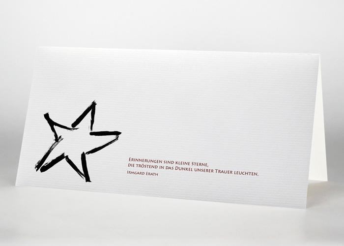 Einzelner Stern - Trauerkarte Motiv S-02