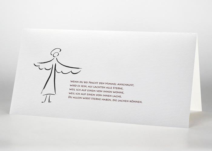Engel mit ausgebreiteten Flügeln - Trauerkarte Motiv S-04