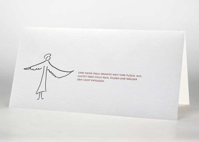 Engel mit ausgebreiteten Flügeln - Trauerkarte Motiv S-05