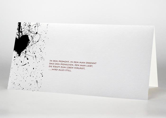 Herz mit Strichen und Punkten - Trauerkarte Motiv S-06