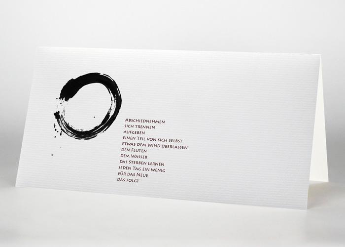Mit Tusche gezeichneter Kreis - Trauerkarte Motiv S-07