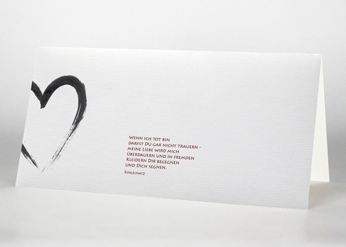 Mit Tusche gezeichnetes Herz - Trauerkarte Motiv S-08