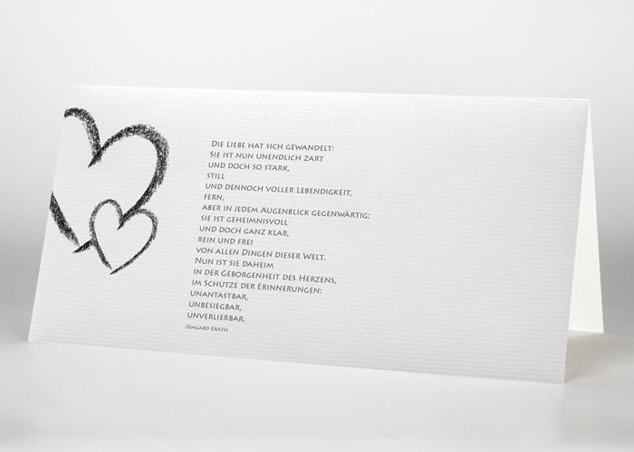 Großes und kleines Herz - Trauerkarte Motiv S-09