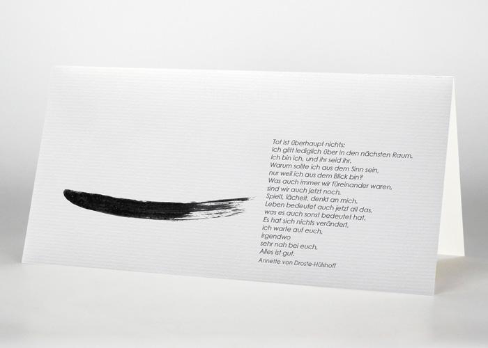 Mit Tusche gezeichneter Strich - Trauerkarte Motiv S-11