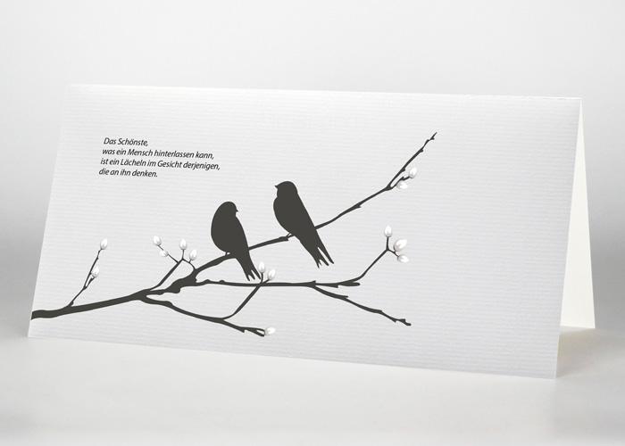 2 Vögel auf einem Ast - Trauerkarte Motiv S-14