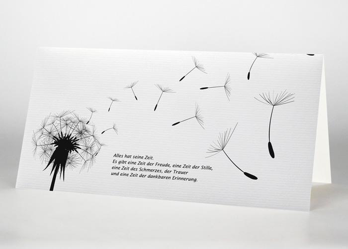 Pusteblume mit wegfliegenden Sporen - Trauerkarte Motiv S-15