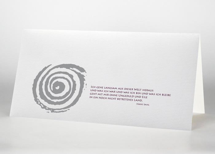 Gezeichnete Spirale - Trauerkarte Motiv S-16
