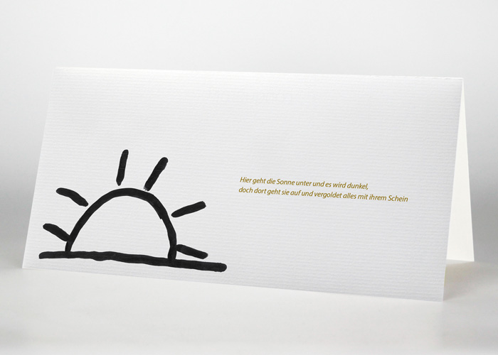 Vom Horizont halb verdeckte gezeichnete Sonne - Trauerkarte Motiv S-17