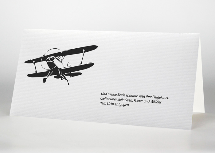 Fliegendes Doppeldeckerflugzeug - Trauerkarte Motiv S-20
