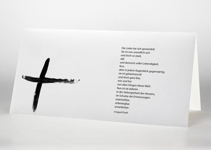 Tuschezeichnung eines Kreuzes - Trauerkarte Motiv S-27