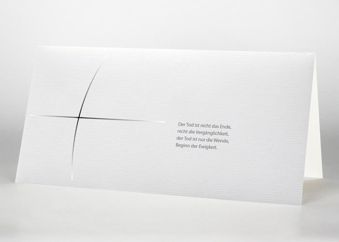 Kreuz aus dünnen Linien - Trauerkarte Motiv S-28