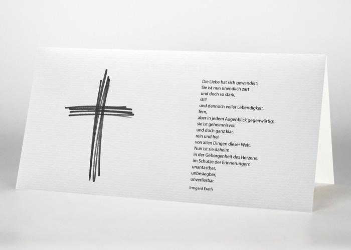 Aus Strichen gestaltetes Kreuz - Trauerkarte Motiv S-29