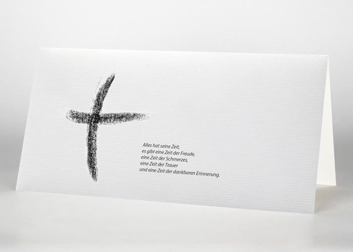 Kreuz Kohlezeichnung - Trauerkarte Motiv S-32