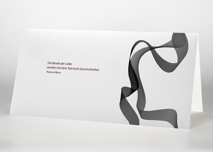 Graues verschlungenes Band - Trauerkarte S-39