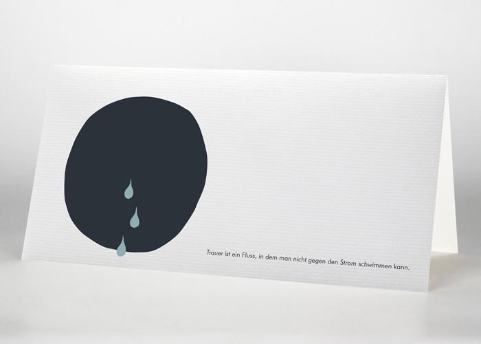 Schwarzer Kreis mit 3 Tränen - Trauerkarte S-41