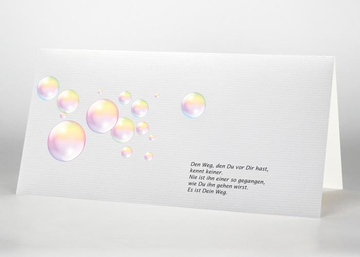 Schillernde Seifenblasen - Trauerkarte Motiv S-44