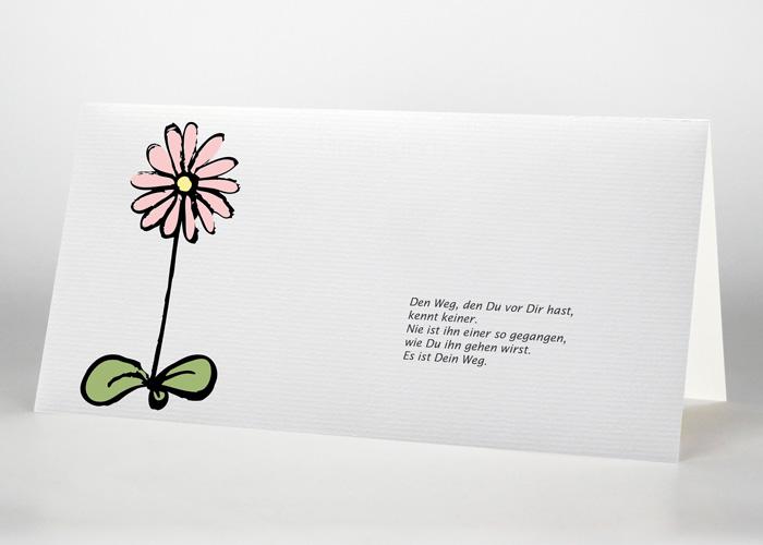Gezeichnete Blume - Trauerkarte Motiv S-45