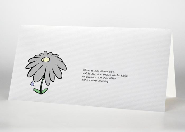 Gezeichnete Blume mit einzelner Träne - Trauerkarte Motiv S-46